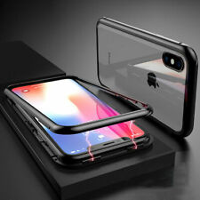 Magnetic Adsorption Metal Case For iPhone X XS MAX XR Glass Back 360 Full Cover