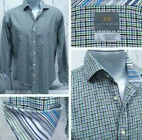 THOMAS DEAN L Large Button Front Casual Long Sleeve Shirt Flip Cuffs Green Blue+