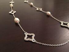 """Gorgeous Chic Pearl And CZ Quatrefoil Clover Long Silver Sautoir Necklace  36"""""""