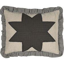 LIBERTY STARS PATCHWORK Throw Pillow Primitive Americana Greige Navy Star 14x18
