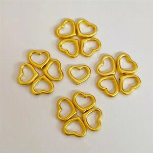 1PCS Real 24K Yellow Gold Woman Pendant 3D Lucky Hollow Heart Bead 0.08-0.12g