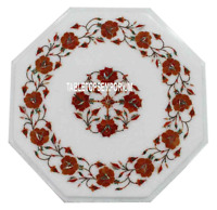 """12"""" White Marble Living Coffee Table Top Carnelian Inlay Marquetry Floral Decor"""