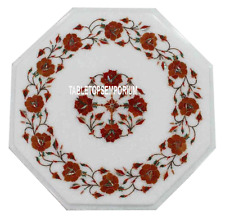 "12"" White Marble Living Coffee Table Top Carnelian Inlay Marquetry Floral Decor"