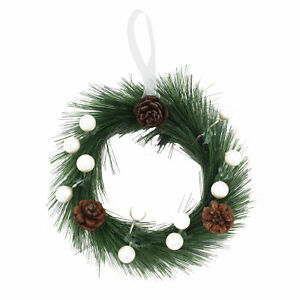 Christmas 18cm Mini Hanging Door Wreath with White Berries and Pine Cones