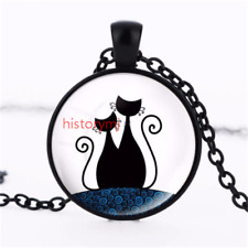 Cat Kitten lover Cabochon Tibetan Black Glass Chain Pendant Necklace Art  NEW