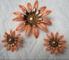 Vintage Sarah Coventry Enameled Flower Brooch Earrings Fashion Petals Coral 1968