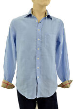 $275 BURBERRY London Blue LINEN Casual Dress Men's Shirt Size S NEW COLLECTION