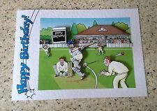Handmade Happy Birthday card 3D decoupage humourous male cricketer cricket