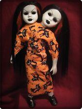 Siamese Conjoined Black Hair Twins Cat Dress Creepy Horror Christie Creepydolls