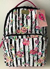 Luv Betsey Johnson Backpack Rose Bag Quilted Flowers Stripes Black White Pink