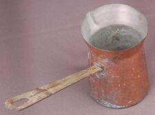 "Primitive Copper Pitcher w Brass Handel-Rivited-Rustic Antique Vintage-5.5"" tall"