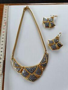 Halskette mit Ohrringe, Edelstein, Gold?, 85,2 Gramm, hochwertige Arbeit, Erbe