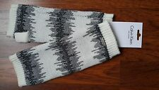Calvin Klein Arm Warmers - Silver Sparkle Thread - Knitted, Long, White&Grey NEW