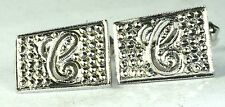 VINTAGE 1950'S STERLING SILVER MARCASITE LETTER INITIAL C CUFFLINKS