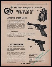 1955 COLT WOODSMAN Sport Model and Challenger Pistol AD w/original prices