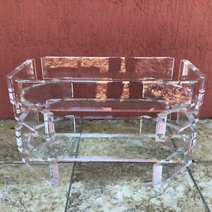 VINTAGE STACKED LUCITE COFFEE TABLE BASE