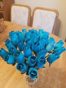 3 DOZEN - LIGHT BLUE WOODEN ROSE BUDS 5 X 8 ARTIFICIAL FLOWERS  - FREE SHIPPING