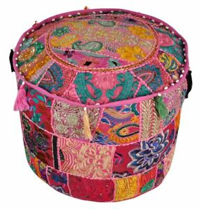 Bedroom Decor Round Ottomans Poufs Cover Indian Footstools Boho Pouffe Footsools