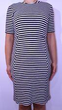 Striped White Black Pencil Dress Size 12 Nautical Holiday Cruise Smart Casual AZ