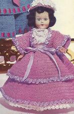 "Vintage Crochet PATTERN to make Fancy Doll Clothes Dress Hat Petticoat 8"" Belle"