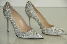 $1685 New Manolo Blahnik BB Cry 105 Silver Crystal JEWELED Pump Wedding Shoes 41
