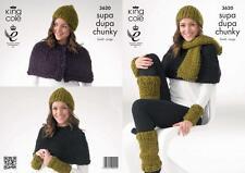 King Cole Scarf, Hat, Leg & WristWarmers In Supa-Dupa Super Chunky, Pattern 3620