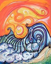Orange Wave Poster Art Tahiti Island Surf art Drew Brophy Inspired Surfer Beach