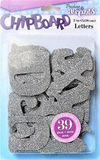 Glitter Chipboard Letters Silver 2 inch 39 pieces Wall Art Home Decor