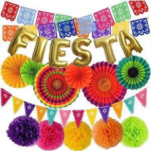 Mexican Fiesta Party Decorations – Cinco De Mayo - 6 Paper Fans, 5 Flowers Po...