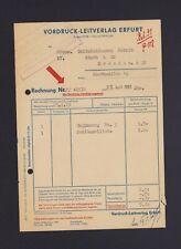 ERFURT, Rechnung 1961, Vordruck-Leitverlag