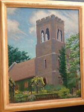 """""""THE CHAPEL TOWER"""" E. A. GAGE Antique Painting Framed-Signed Original Art c1900"""