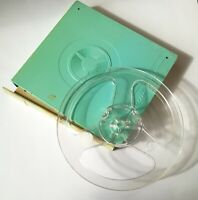 "5 3/4"" Transparent Empty Reel Spool for Recording Tape in Plastic Box."