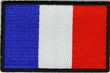 """(C4) FRANCE FLAG 3"""" x 2"""" iron on patch (5191) Biker French"""