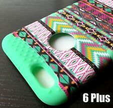 iPhone 6+ / 6S+ Plus HARD & SOFT RUBBER HYBRID CASE MINT GREEN PINK AZTEC TRIBE