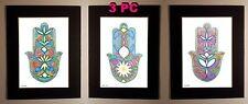 HAMSA (hand) Artwork SET,, Judaica art Israeli artist LOT 3PC Signed Fatima Hand