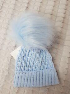 Pex Textured Fur Blue Pom Pom Hat 0-12 months