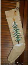 O CHRISTMAS TREE Handpainted Christmas Stocking-Prim,Folk Art,Country,Primtive