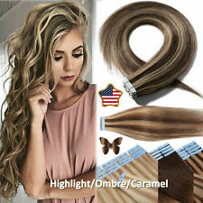 CLEARANCE THICK Glue Tape In 100% Human Remy Hair Extensions Full Head Caramel D