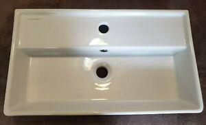 Scarabeo 5002One Hole Teorema Rectangular Sink Ceramic Wall Mount White