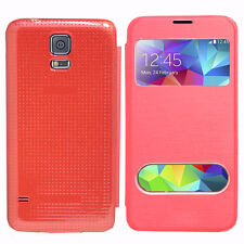 Housse Etui Coque Pochette View Case ROUGE Samsung Galaxy S5 V G900F/ Duos/ Plus