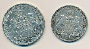 Kaiserreich Hamburg 3 Mark1913 und 5 Mark 1908 - wie in einem Nachlass gefunden