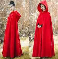 Womens Red Retro Wool Blend Hooded Shawl Cloak Coat Casual Full Length Overcoat