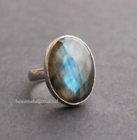 925 STERLING SILVER LABRADORITE RING FEBRUARY MONTH BRITHSTONE SIZE 6 TO 13