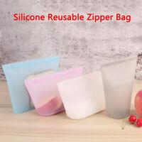 Leakproof Container Silicone Reusable Zipper Bag Food Storage Zip Top Frozen HU