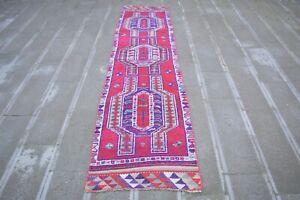 Vintage Runner Rug,2.5x10.6,Old Turkish Herki Rug,Antique Rug,Hallway Runner Rug