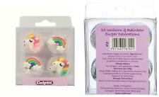 Unicorn Rainbow Cake Topper Edible Sugar Pipings Cupcake Decorations