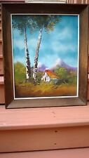 "VintageOriginal PAINTING OIL ON CANVAS BOARD ""MOUNTAIN CABIN AT BIRCH TREESigned"