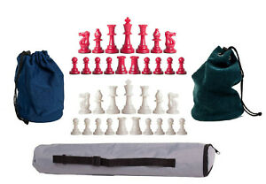 Staunton Red White Weighted Chess Pieces - 1 Archer Bag - 2 Drawstring Bags