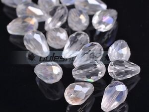 Crystal Glass Teardrop Faceted Loose Craft Beads lot 5x3 7x5 12x8 15x10 18x12mm