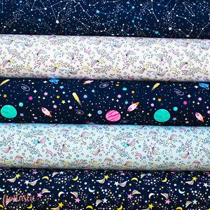 Navy Constellation 100% Cotton Fabric Starry Night Sky Space Stars Galaxy Fabric